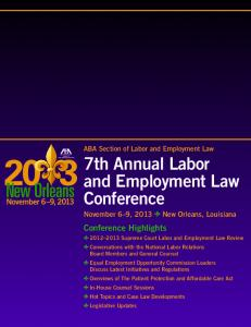 7th Annual Labor and Employment Law Conference - American Bar ...