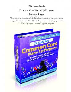 7th Grade Math Common Core Warm-Up Program Preview Pages