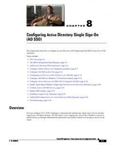 8 Configuring Active Directory Single Sign-On (AD SSO) - Cisco