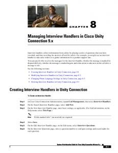 8 Managing Interview Handlers in Cisco Unity Connection 9.x