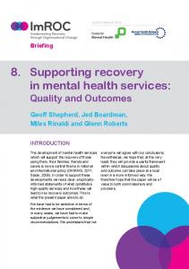 8. Supporting recovery in mental health services - Recovery Context ...