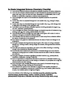 8th Grade Integrated Science Chemistry Checklist