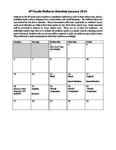 8th grade mid-term calendar