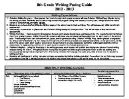 8th Grade Writing Pacing Guide 2012 - 2013 - Curriculum and ...