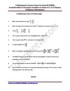 9. Mathematics Practice Paper for Class XII (CBSE) Available Online ...