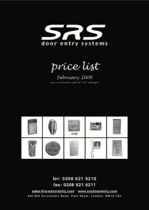 9948 Catalogue prices 2008 - Door Entry Direct