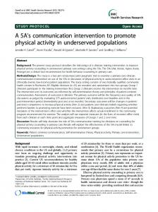 A 5A's communication intervention to promote ... - BioMedSearch