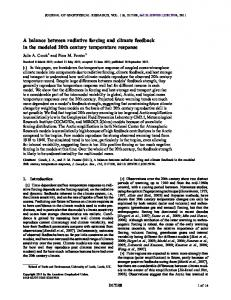 A balance between radiative forcing and climate ... - Wiley Online Library