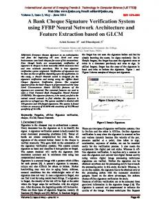 A Bank Cheque Signature Verification System using FFBP ... - IJETTCS