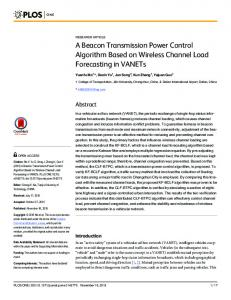 A Beacon Transmission Power Control Algorithm Based on Wireless ...