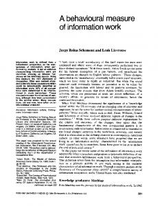 A behavioural measure of information work - UCLA Department of ...