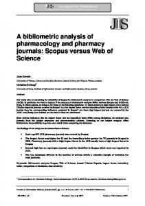 A bibliometric analysis of pharmacology and pharmacy journals ...