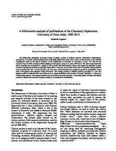 A bibliometric analysis of publications of the ... - NOPR - niscair