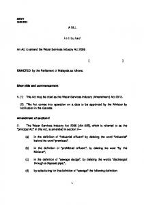 A BILL intituled An Act to amend the Water Services Industry Act 2006