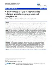 A bioinformatic analysis of ribonucleotide reductase ... - ScienceOpen