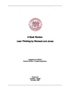 A Book Review: Lean Thinking by Womack and Jones - MIT