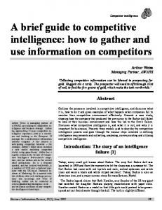 A brief guide to competitive intelligence: how to gather ...