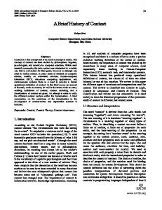 A Brief History of Context - arXiv