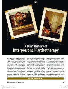 A Brief History of Interpersonal Psychotherapy - Child Study Center ...