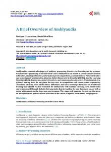 A Brief Overview of Amblyaudia