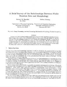 A Brief Survey of the Relationships Between Finite ... - Robert Haralick
