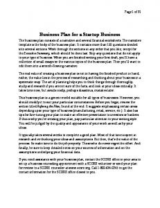 A Business Plan for a Startup Business (PDF)