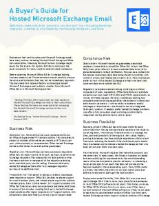 A Buyer's Guide for Hosted Microsoft Exchange Email