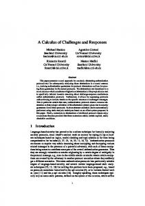 A Calculus of Challenges and Responses - CiteSeerX
