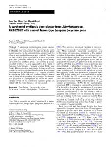 A carotenoid synthesis gene cluster from ...