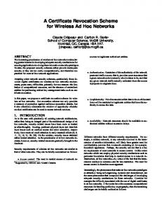 A Certificate Revocation Scheme for Wireless Ad ... - Semantic Scholar