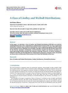 A Class of Lindley and Weibull Distributions - Scientific Research ...