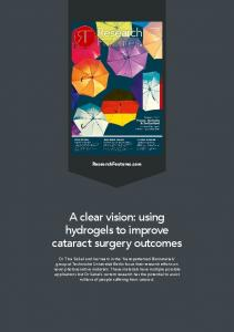 A clear vision: using hydrogels to improve cataract ...