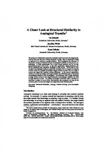 A Closer Look at Structural Similarity in Analogical ... - Semantic Scholar