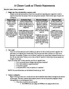 A Closer Look at Thesis Statements