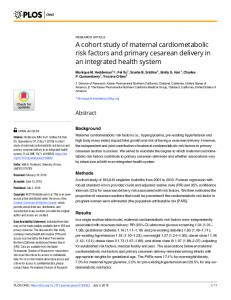 A cohort study of maternal cardiometabolic risk factors and ... - PLOS