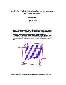 A collection of selected pseudorandom number ... - CiteSeerX