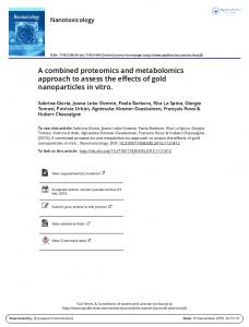 A combined proteomics and metabolomics approach ...
