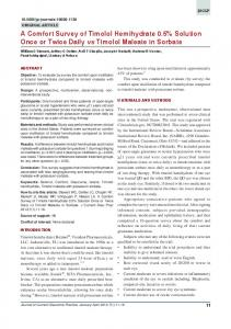 A Comfort Survey of Timolol Hemihydrate 0.5% Solution Once or ...