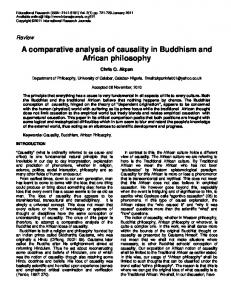 A comparative analysis of causality in Buddhism and African philosophy
