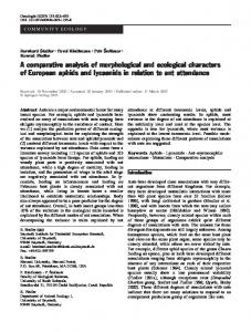 A comparative analysis of morphological and ecological characters of ...