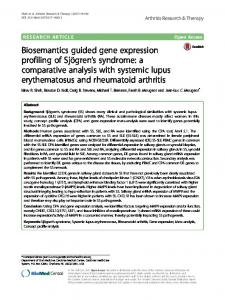 a comparative analysis with systemic lupus erythematosus