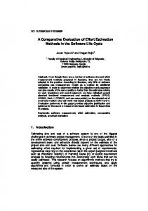 A Comparative Evaluation of Effort Estimation Methods in the Software ...