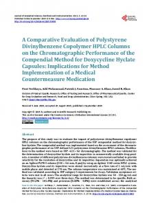 A Comparative Evaluation of Polystyrene Divinylbenzene Copolymer ...