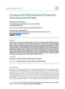 A Comparative Physiochemical Properties of Esomeprazole Brands