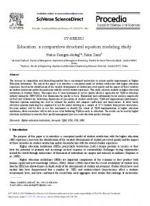 A Comparative Structural Equation Modeling Study - Science Direct