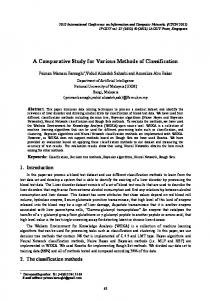 A Comparative Study for Various Methods of