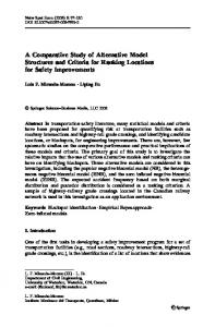 A Comparative Study of Alternative Model Structures and Criteria for ...