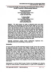 A Comparative Study of Authorship and Collaboration Pattern of Four ...