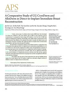 A Comparative Study of CG CryoDerm and