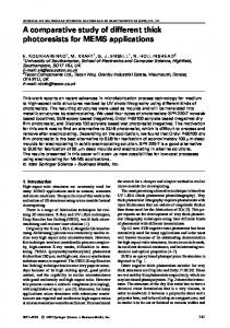 A comparative study of different thick photoresists for ... - Springer Link